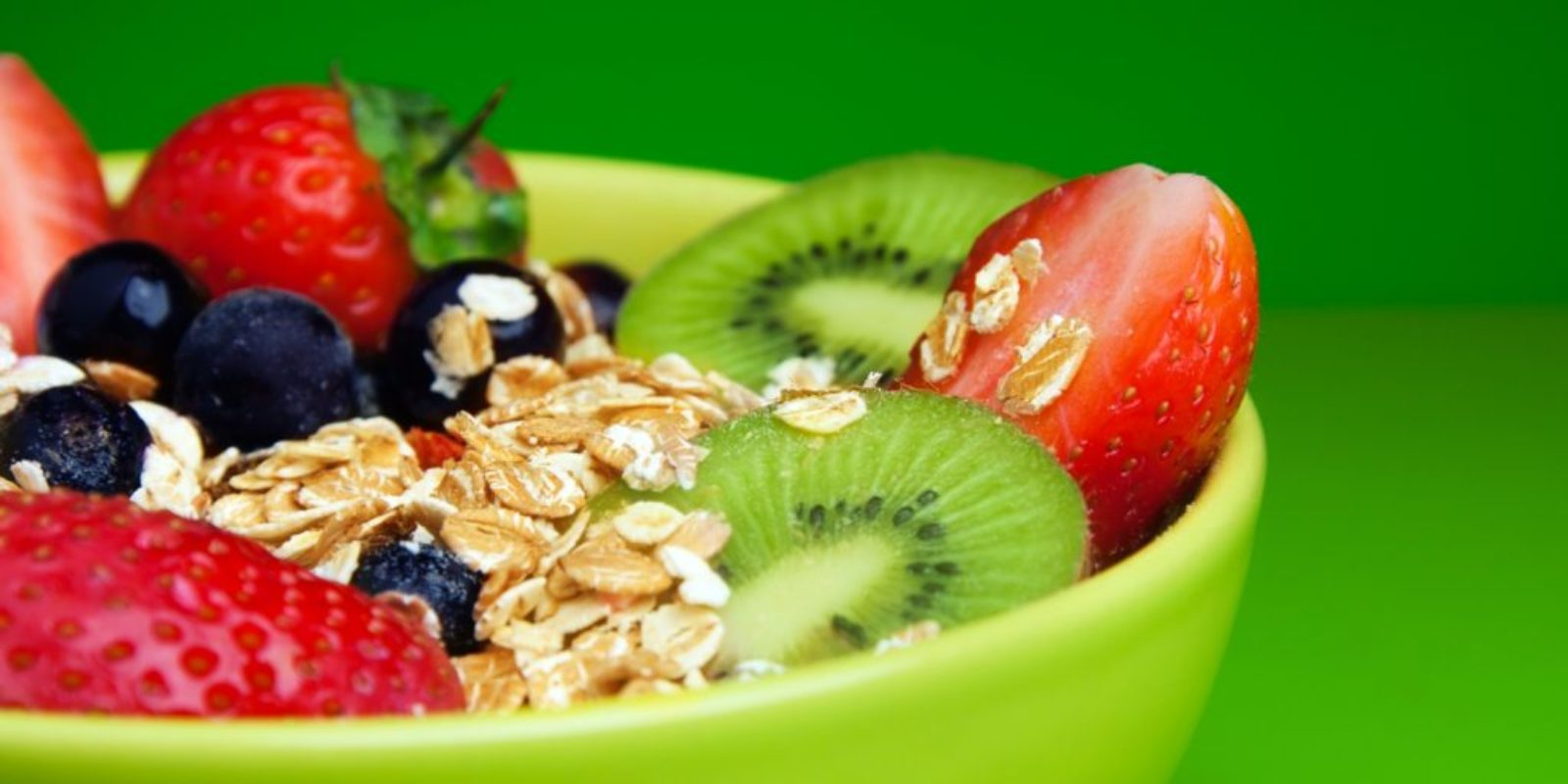 healthy muesli with fruits breakfast