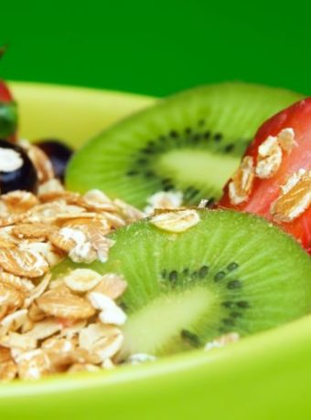 healthy muesli with fruits breakfast